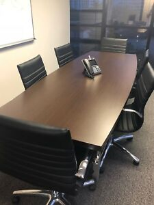 Modern Conference Table 6 Chairs Wood 1 Year Of Usage