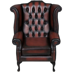 Vintage Antique Style Tufted Red Leather Wing Back Arm Chair Armchair Queen Anne