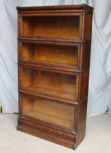 Antique Macey Oak Barrister 4 High Sectional Bookcase Drawer In The Base