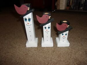 Primitive Wooden Taper Snowmen Candle Holder Set With Birds On Hats