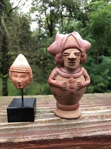 Pre Columbian Pottery Two Pieces Head On Stand