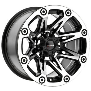 4 new 15 Inch Ballistic 522 Flash 15x8 6x5 5 27mm Black machined Wheels Rims