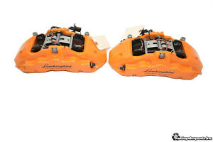 15 16 Lamborghini Huracan Oem Front Brembo Brake Calipers Set 6 Piston