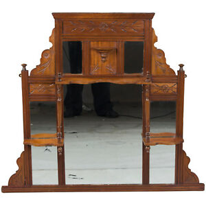 Antique Edwardian Period Carved Walnut Framed Large Wall Mirror