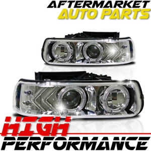 For 2003 Chevrolet Tahoe Halo Projector Headlight Chrome Clear