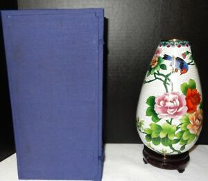 Large Chinese Cloisonne Birds Flowers Decorated Vase 10 Tall