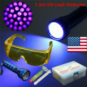 Detection Kit Leak Detector A C Fluid Gas 14led Uv Black Light Safety Glasses