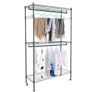 Double Rail Adjustable Garment Rack Rolling Clothes Hanger shoe Rack Portable