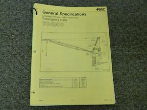 Link belt Tg 1900 Tower Gantry Crane Specifications Lifting Capacities Manual