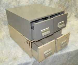 2 Drawer Metal File Cabinet Organizer Vintage Stackable Storage Library Card