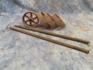 4 Factory Cart Wheels 2 Axles Cast Iron Vintage Lineberry Industrial Wheel A14