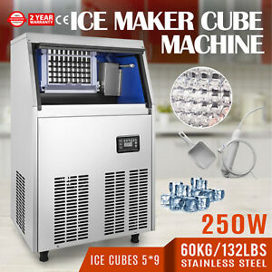 60kg 132lbs Commercial Ice Cube Making Machine 110v Ice cream Stores Auto Clean