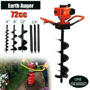 72cc Power Engine 4hp Gas Powered One Man Post Hole Digger 3 Bits 3 Extensions