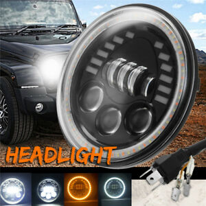 7 120w Led Headlight Hi lo Beam Yellow White Turn Signal Drl For Jeep Wrangler