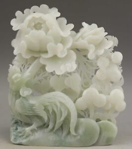 Chinese Natural Hetian Jade Hand Carved Bird And Flower Statue 5 8 Inch