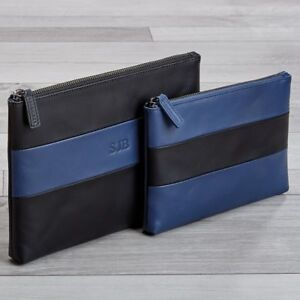 Levenger Leather Rugby Travel Pouches Black blue