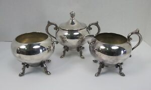 Vintage American Silver On Copper Silver Plate Sugar And Creamer Set