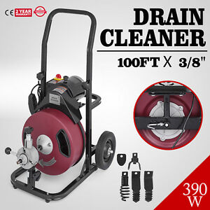 Commercial 100ft Electric Drain Auger Snaker Cleaner Plumbing 3 8 Cable Cut
