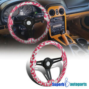 Universal 2 Pink Rose Pedals 350mm Sport Racing Wooden Steering Wheel 1pc