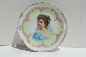 Beautiful Antique Hand Painted Portrait Porcelain Plate Of A Smiling Beauty