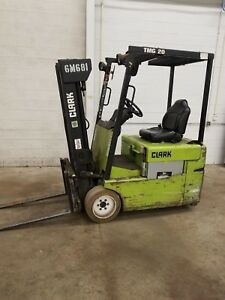 1999 Clark Model Tmg20 3800 Lbs Capacity 3 Wheel Electric Forklift 36v 6900 Hour