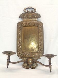 Antique Victorian Ornate Brass Gasolier Gas Light Wall Sconce