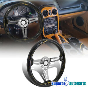 Universal 2 Dark Force Black Gold 350mm Sport Racing Wooden Steering Wheel 1pc