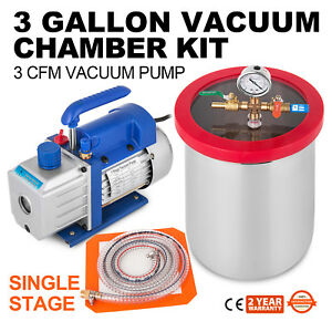 3 Gallon Vacuum Chamber 3cfm Single Stage Pump Hvac Degassing Stainless Steel