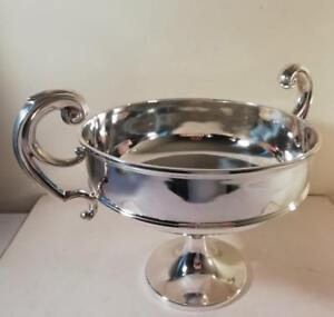 A Large Antique Silver Rose Bowl With Scrolled Handles Chester 1910
