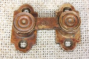 Interior Shutter Latch Swing Arm Catch Old Signed Tarnished Brass Vintage 1800 S