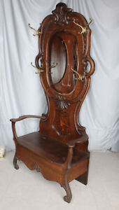 Antique Oak Hall Seat Tree Lift Storage Seat Beveled Mirror Coat And Hat H