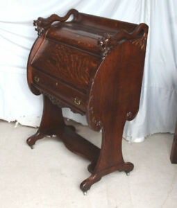 Antique Oak Drop Front Secretary Writing Or Small Desk Unusual Design Detail
