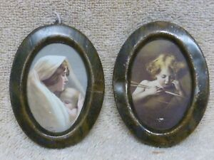 2 Vintage Metal Tin Oval Frames Cupid Madonna Sleeping