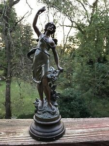 Antigue French Maiden Spelter Statue Signed On Wood Base Fleurs D Ete