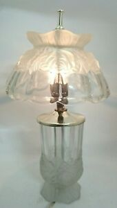 Satin Glass Mushroom Lamp Vintage Tabletop Dome Decorative Floral Dodecagonal
