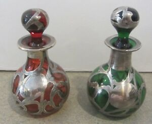 Antique Sterling Silver Overlay Perfume Bottles Art Nouveau Cranberry Green Red