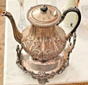 Victorian Large Tea Set Silver Plate Engraved Flower On Copper