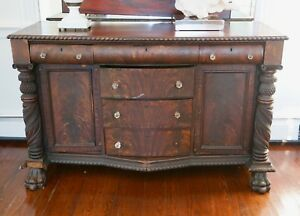 19th C Paw Foot Renaissance Revival Empire Sideboard