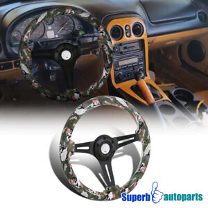 Universal 2 Gray Skulls And Roses 350mm Sport Racing Wooden Steering Wheel 1pc