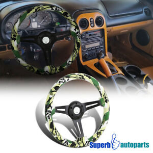Universal 2 Green Camo Art 350mm Sport Racing Wooden Steering Wheel 1pc