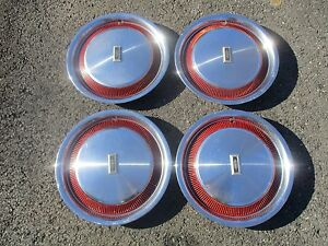 Genuine 1978 To 1986 Oldsmobile Cutlass 14 Inch Hubcaps Wheel Covers Set Red