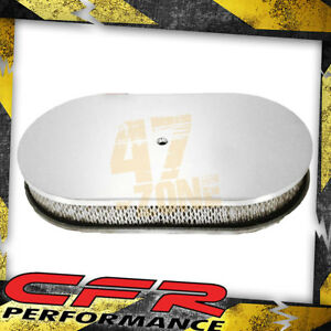 Chevy Ford Mopar 15 Oval Chrome Aluminum Air Cleaner Smooth