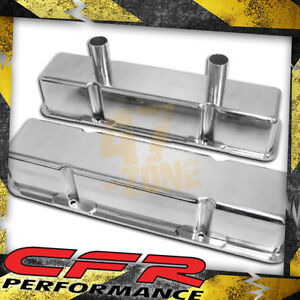 58 86 Chevy Small Block Tall Polished Al Circle Track Racing Valve Covers Smooth