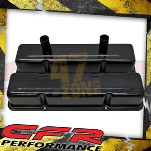 Aluminum Stamped Tall Valve Covers Chevy Sb Circle Track 283 400 anodized Black