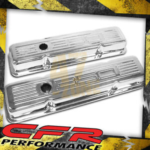 1958 86 Chevy Small Block 350 Tall Steel Valve Covers Chrome W 350 Logo