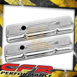1958 86 Chevy Small Block 327 Short Steel Valve Covers Chrome W 327 Logo