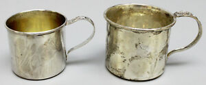 2 Vintage Sterling Silver Baby Cups Lunt Decorated Handles W Toys Flowers