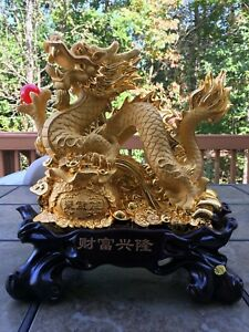 15 H Chinese Feng Shui Dragon Statue Lucky Wealth Figurine Gift