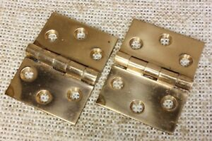 2 Cast Bronze Butt Hinges Door Polished Interior Shutter Vintage Old 2 X 1 1 2