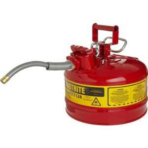 Justrite 7225120 Accuflow 2 5 Gal 11 75 x12 Steel Type Ii Yellow Safety Can